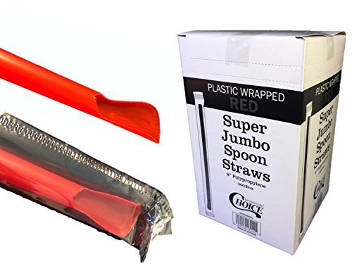 """Choice 8"""" Super Jumbo Red Individually Wrapped Spoon Straws {Sanitary Plastic Wrapper} - 300/Box"""