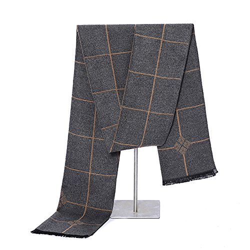 Mens Winter Cashmere Scarf - Ohayomi Fashion Formal Soft Scarves for Men(Grey heart Plaid)