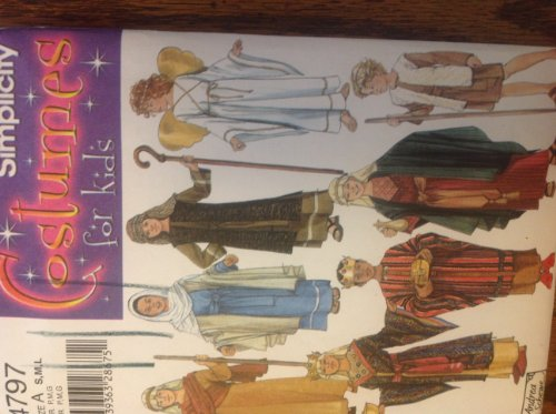 Simplicity 4797 Sewing Pattern for Boys Girls S M L Mary Joeseph Nativity Costumes Shepherd Angel (Shepherds Nativity Costume)