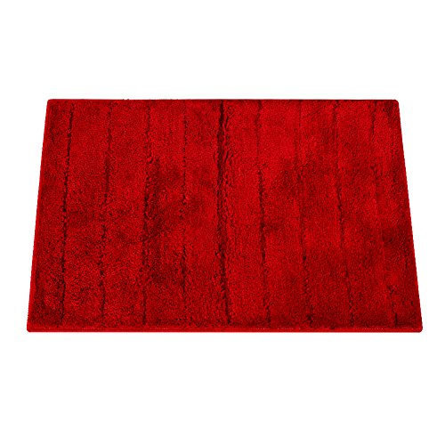 Top Finel Shag Collection Non-Slip Entrance Area Runners Rugs Solid Color Floor Door Mats 20 x 31.5 Inch For Kitchen Bathroom, Wine (Red Kitchen Solid Rugs)