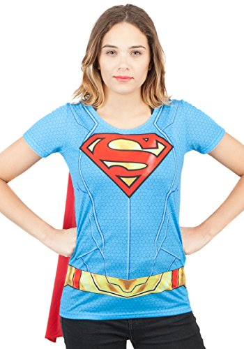 Juniors: Supergirl- Costume Tee with Cape Juniors (Slim) T-Shirt Size L