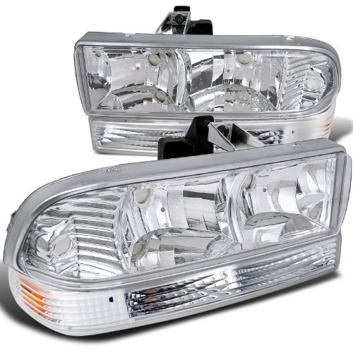 98-04 CHEVY S10 BLAZER CLEAR HEADLIGHTS HEAD LAMPS+BUMPER SIGNAL LIGHTS 4PC ()