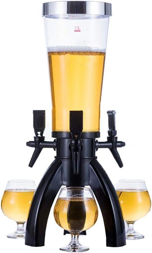 NgMik Dispensador de Bebidas Chrome Torre Dispensador De La Cerveza Kit con 3 Manijas De Grifo Dispensador De La Bebida For La Fiesta para Las Bebidas Fiesta de la Cerveza Párese Partido Gadgets