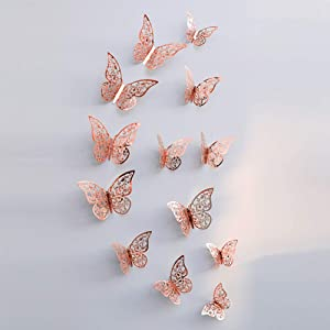 24Pieces Rose Gold 3D Hollow Butterfly Wall Sticker for Home Decor Butterfly Stickers Room Decoration for Party Wedding Wall Decor