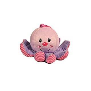 Baberoo Soft Plush Stuffed Animal Musical Toy Octopus, Pink/Purple, 9 Inches