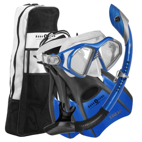 Aqua Lung Sport Admiral Mask, Dry Snorkel, Trek Fins & Bag - Blue, Small