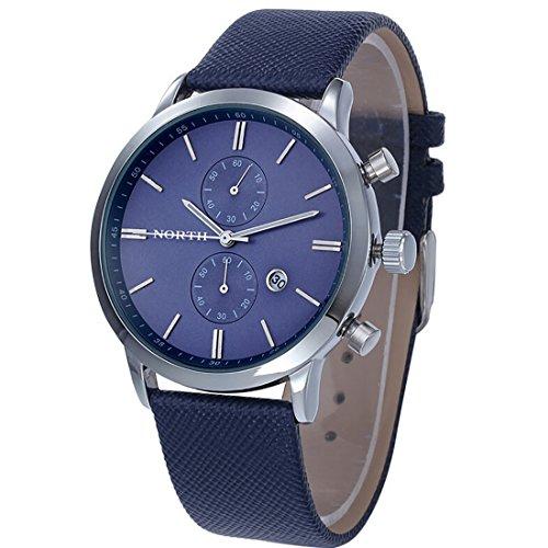 Men Casual Calendar Watch PU Leather Business Luxury Watch(Blue)