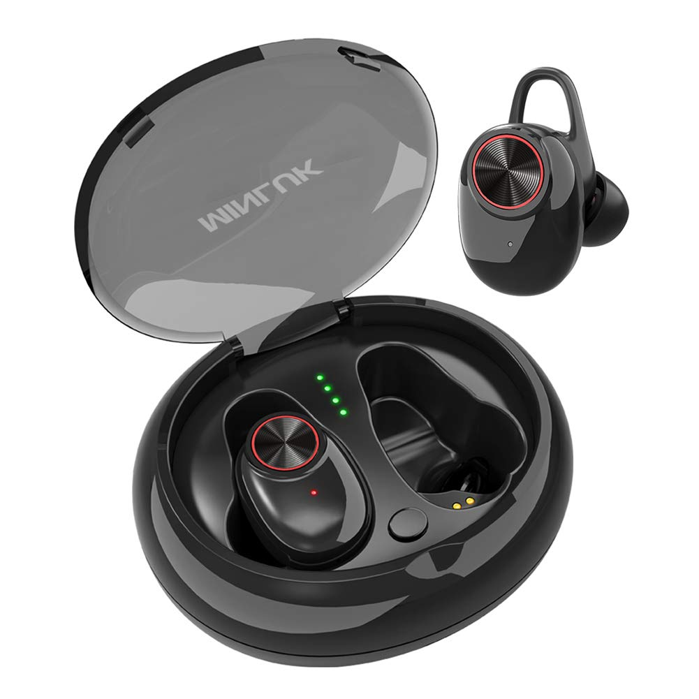 Wireless Earbuds, Bluetooth 5.0 True Wireless Headsets HD Stereo Sound in-Ear Headphones, 15H Playtime, Built-in Microphone, Sweatproof Sport Bluetooth Earphones for Gym Running with Charging Case