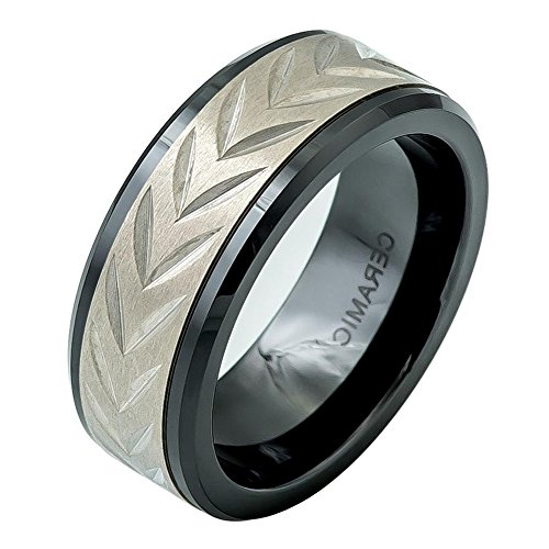 (iPauly 8mm Ceramic Low Beveled Edge Black Ring with Carved Arrow Head design on Titanium Inlay Wedding Band)