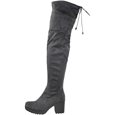 ce5b3f12d04e Loud Look Womens Ladies Over The Knee Thigh High Boots Stretch Lace Up Mid  Heel Shoes