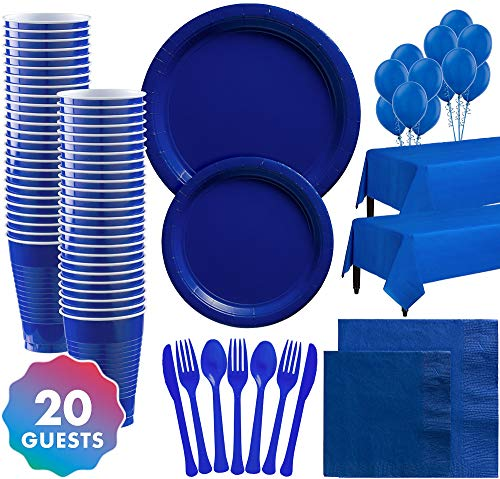Party City Solid Royal Blue Party Supplies for 20 Guests, Include Plates, Napkins, Table Covers, Balloons, and More
