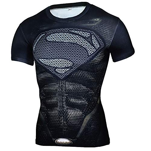 Mens Short Sleeve Black Compression Shirt for Workouts Dri-fit Graphic Tee 4XL]()