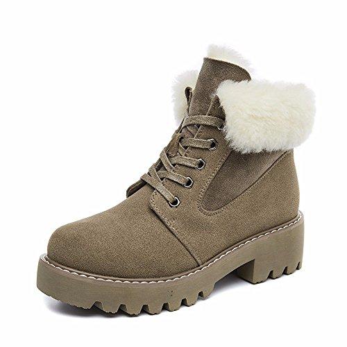 HXVU56546 Herbst Und Winter Neue Schuhe Martin Stiefel Dickes Plus Samt Stiefel Wild Warme Schuhe Aus Baumwolle Sand color