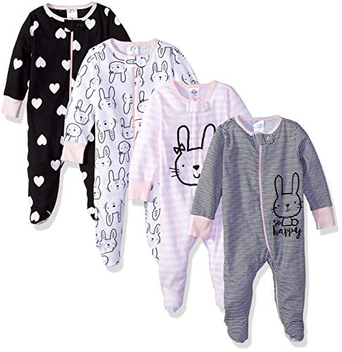 GERBER Baby Girls' 4-Pack Sleep 'N Play, Bunny Smiley, 3-6 Months