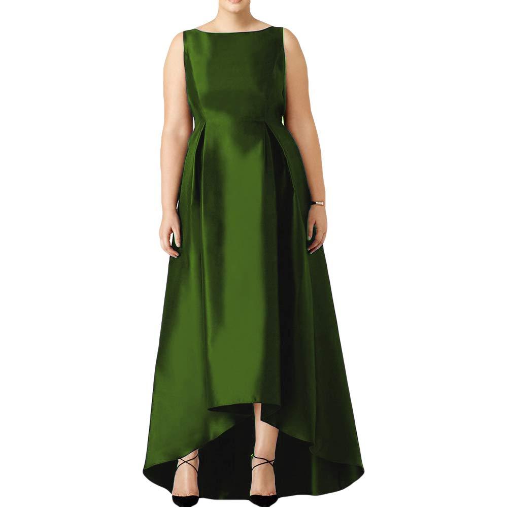 Olive Dreagel Elegant Prom Dresses Long Satin High Low Evening Formal Gowns for Women Plus Size