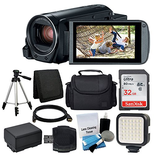 Canon VIXIA HF R800 Camcorder (Black) + 32GB Memory Card + Digital Camera/Video Case + Extra Battery BP-727 + Quality Tripod + Digital Compact LED Video Light + USB Card Reader – Full Accessory Bundle