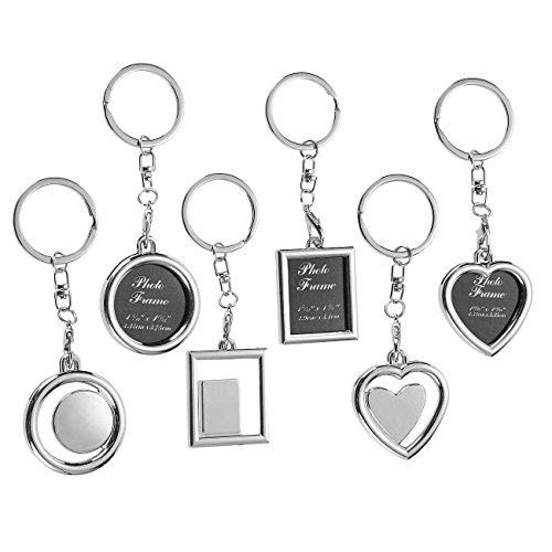 Photo Keychain - 6-Pack Key Rings with Picture Frames for Birthday, Anniversary, Wedding Gifts, 3 Designs, Circle, Rectangle, and Heart-Shaped, 1.3 x 4.2 Inches