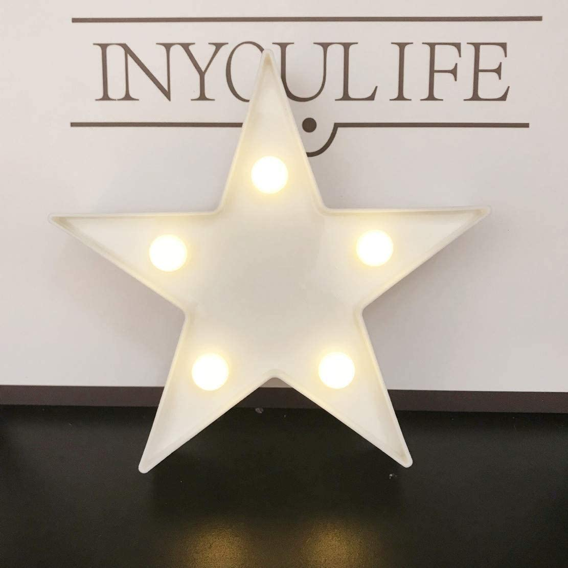 Little Star Light Led Plastic Star Sign Lighted Marquee Star Sign Wall Decor For Christmas Birthday Party Kids Room Living Room Wedding Party Decor Romantic Deco Lamp Night Table Light White Amazon Com