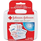 Johnson & Johnson First Aid To Go!, Emergency First Aid Travel Kit with Adhesive Bandages, Gauze Pads & Cleansing Wipes for Purse, Backpack, Gym Bag...