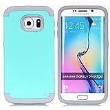 Galaxy S6 Edge Case,LUOLNH 3-Piece High Impact Hybrid Defender Case For Samsung Galaxy S6 Edge (Mint+Grey)