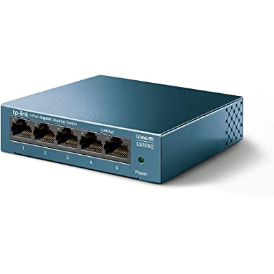 TP-Link Switch 5 Puertos 10/100/1000 (LS105G) Switch ethernet, Switch gigabit, Indicador del Estado, chasis metálico Ultraligero con Super disipación de Calor, QoS