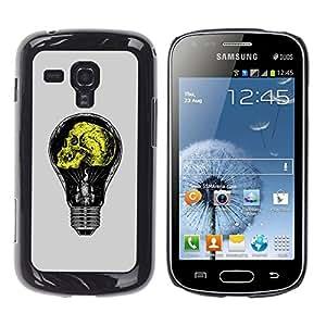 Shell-Star Arte & diseño plástico duro Fundas Cover Cubre Hard Case Cover para Samsung Galaxy S Duos / S7562 ( Grey Yellow Light Bulb Yellow Idea )