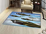 smallbeefly Airplane Bath Mat non slip Fighter Aircrafts Up in Air Flight Machinery Wings Illustration Technology Customize door mats for home Mat Blue Green Grey