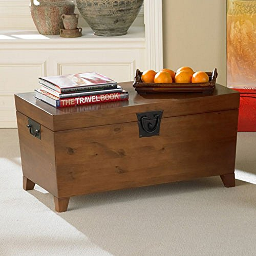 Pyramid Cocktail Trunk Set - Bistro Coffee Tables Trunk Storage Bench Rectangle Wood Cocktail Living Room Side End Table Modern Furniture