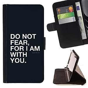 """BullDog Case - FOR/Sony Xperia m55w Z3 Compact Mini / - / """"ISAIAH 41:10 DO NOT FEAR /- Monedero de cuero de la PU Llevar cubierta de la caja con el ID Credit Card Slots Flip funda de cuer"""