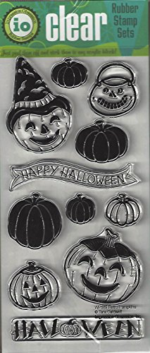 Impression Obsession Retro Pumpkins Cling Rubber Stamp WP689 -