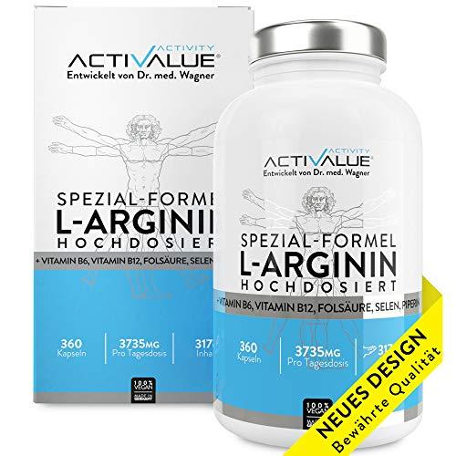 VERGLEICHSSIEGER 2018*: L-Arginin Spezial-Formel, das Erfolgsprodukt von Dr.med. Wagner, 4500mg L-Arginin HCL, verstärkt durch B6, B12, Selen und Folsäure, 360 Kapseln, 1 Dose (317 g)