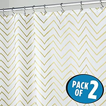 MDesign Gold Metallic Chevron Print Fabric Shower Curtain