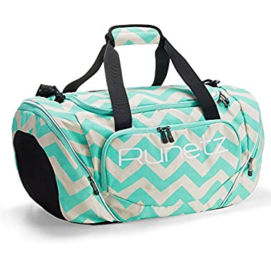 Runetz - Chevron Hot TEAL Blue Gym Bag Sport Shoulder Bag for Men & Women Duffel 20-inch Large - Chevron Teal
