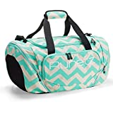 Runetz Gym Bag for Women and Men Duffle Bag with Wet Pocket, Travel Gym Bag with shoe compartment Duffel Bag - 20 inch Large - CHEVRON TEAL