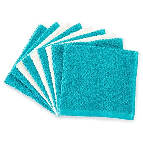 New Just Home 9 Pc Value Pack Wash Cloths 100% Cotton (Ivory/Teal) for cheap