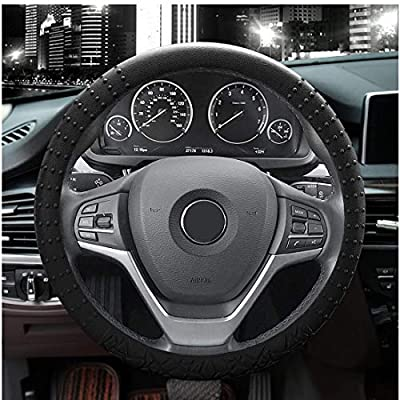 JYPC Silicone Steering Wheel Cover,Non-Slip and Sweat Absorbent, Universal 14 to 15 inches (Black): Automotive