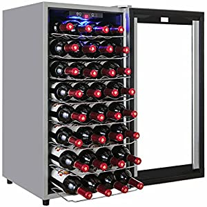 AKDY 32 Bottles Single Zone Thermoelectric Freestanding Wine Cooler Cellar w/ Touch Control – Super UnitHighly recommend!!