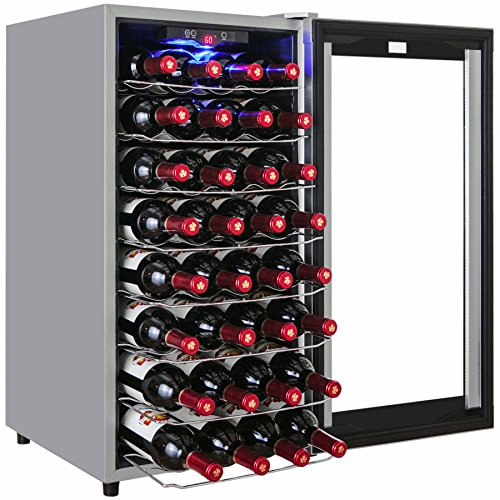 AKDY 32 Bottle Single Zone Thermoelectric Freestanding Wine Cooler Cellar Chiller Double Door Refrigerator Fridge Quiet Operation