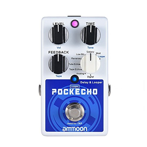 ammoon POCKECHO Guitar Delay & Looper Effects Pedal with 8 Delay Effects, 300s Loop Time Tap Tempo Function True Bypass