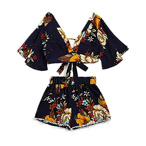 Womens Sexy 2 Piece Outfits Short Sleeve V Neck Ruffle Strappy Crop Tops Boho Flower Print Loose Shorts Tassel Edge Soft Breathable Summer Casual Beach -