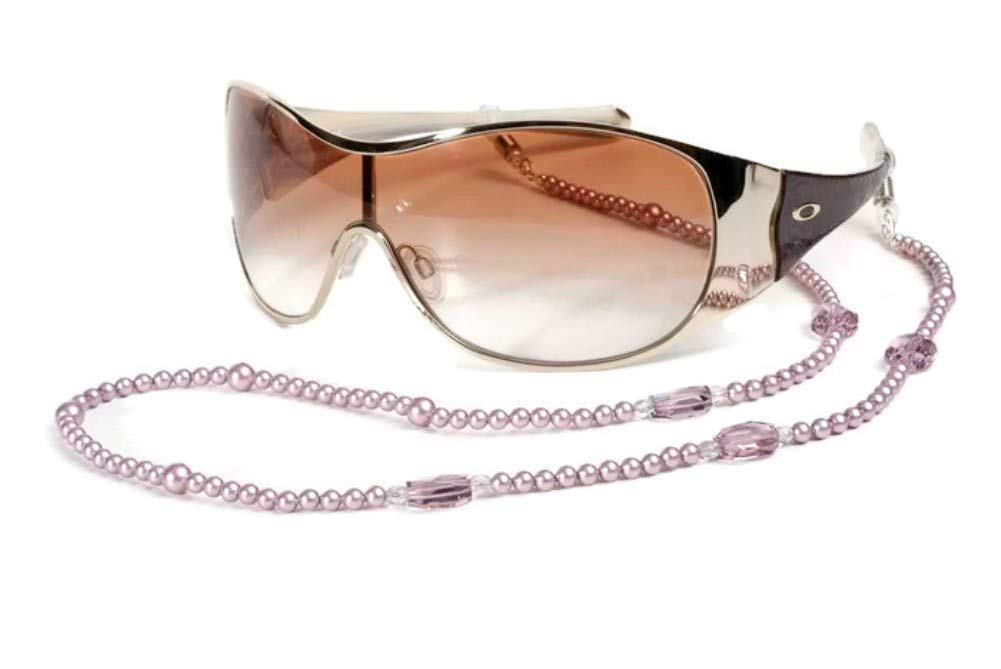 Bead Eyeglass Chain - Sunglasses Cord Neck Strap Holder (Cream Pink), Pink Pearl and Pink Crystal Designer Glasses Frame Holder, Tart by PuntaRocks by puntarocks
