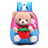 FYGOOD Canvas Baby Bag Backpack for Toddler Little Kids 1-3Years old with Plush Doll Bear Dark Pink 9.4x8.2x2.3''