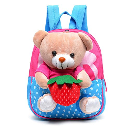 FYGOOD Canvas Baby Bag Backpack for Toddler Little Kids 1-3Years old with Plush Doll Bear Dark Pink 9.4x8.2x2.3