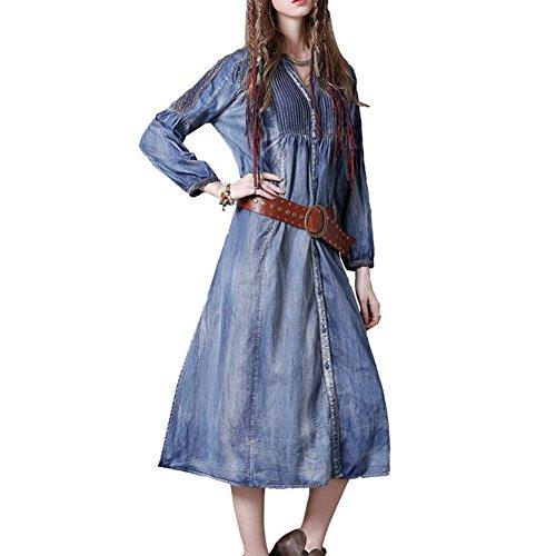 Maxi Blau Partykleid LHA8165 DISSA Damen Denim A Kleider Kleid Langarm Linie vwqXzq4g