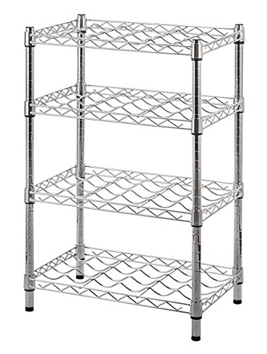 STORAGE MANIAC 4-Tier Wine Rack, 24-Bottle Wine Display & Storage Rack, Free Standing Storage Shelf, Chrome