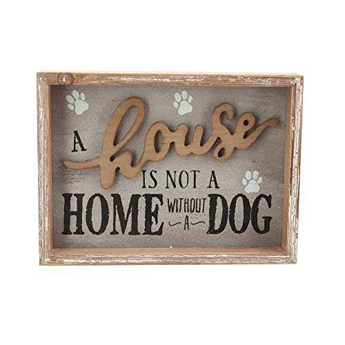 Parisloft A House is Not A Home Without A Dog Wooden Dog Signs for Dog Lovers|Rustic Wood Pet Sign Plaque 9.5x1.5x7