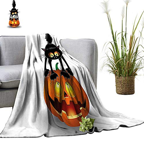 (YOYI Home Fashion Blanket Cat Pumpk Head Spooky Characters Halloween Humor Themed Orange Blac Lightweight Blankets for Couch Bed Sofa)