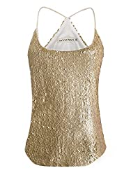 Gold (Matte) Sequin Spaghetti Strap Crop Top