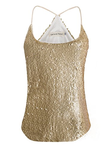 (Anna-Kaci Womens All Over Matte Sequin Spaghetti Strap Vest Tank Top, Gold, Small)