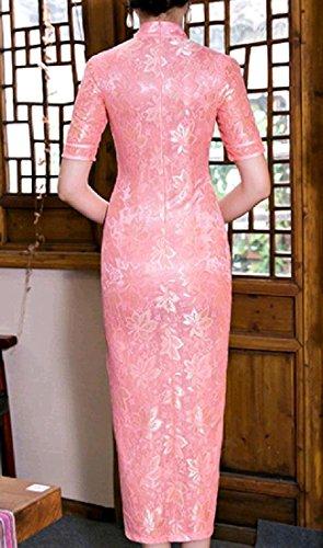 Coolred-femmes Côté Floral Soie Imprimé Fente Robe De Soirée Chinoise Qipao Pattern2